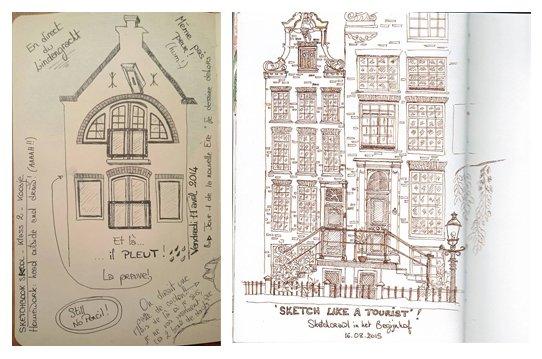 First Sketchbook Skool sketch (left) and most recent Sketchbook Skool sketch (right) by Gwenaelle Glotin