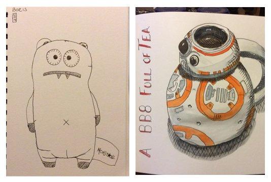 First Sketchbook Skool sketch (left) and most recent Sketchbook Skool sketch (right) by Helen Leigh-Phippard