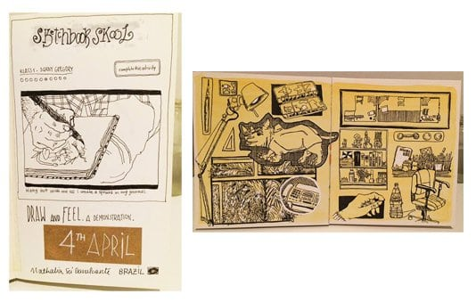 First Sketchbook Skool sketch (left) and most recent Sketchbook Skool sketch (right) by Nathalia SaCavalcante