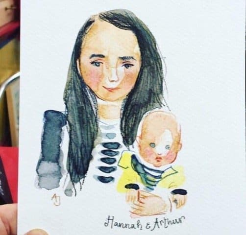 Andrea Joseph sketch of a mother and a baby