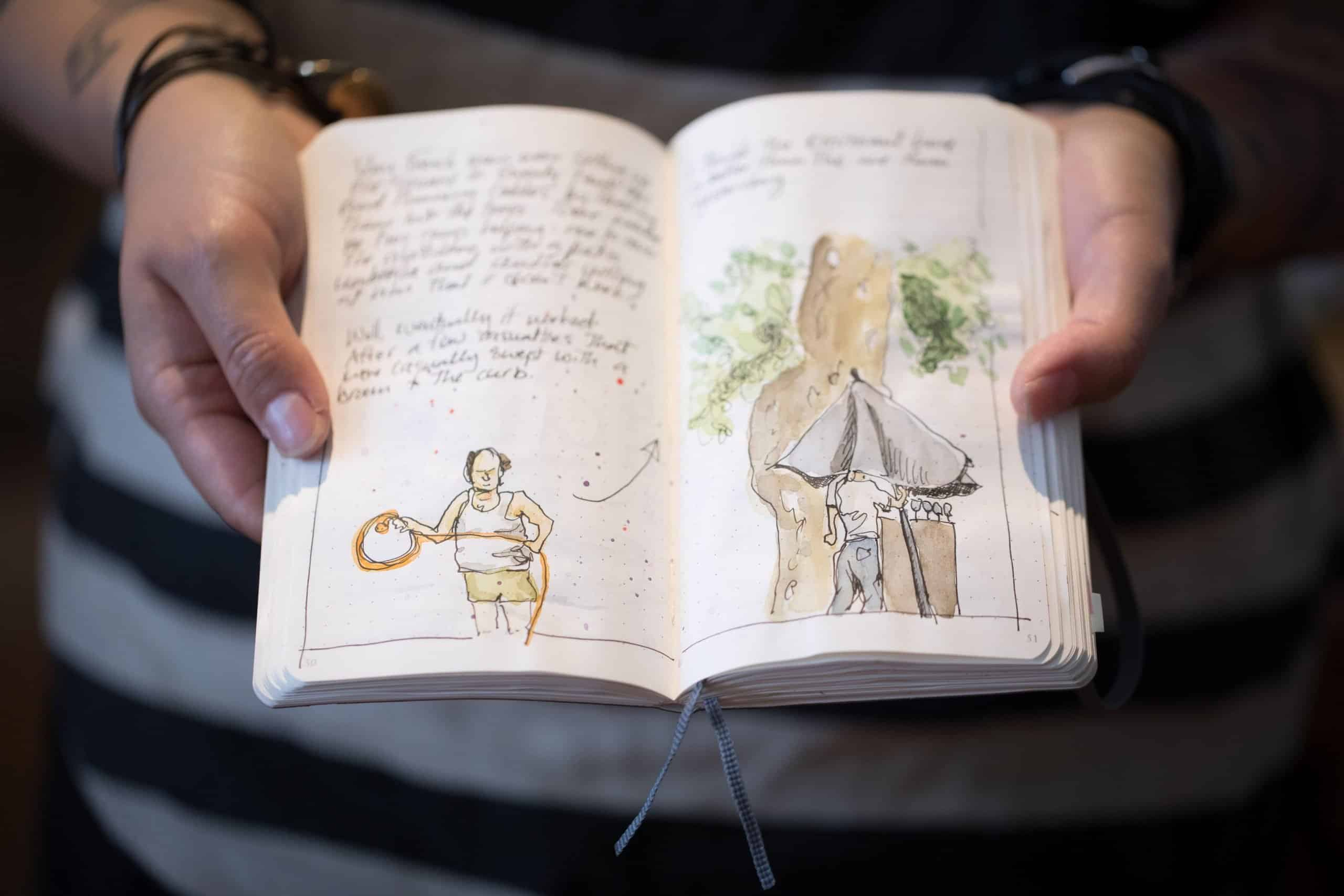 Schmoo Theune holding a drawing book