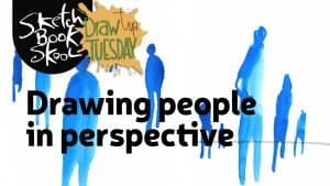 drawing people in perspective sketch