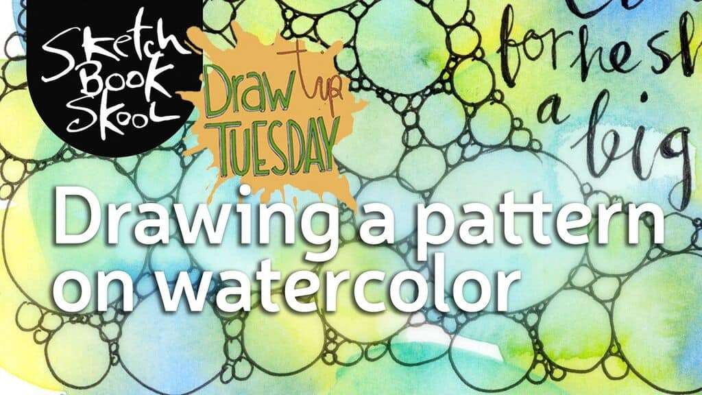 drawing pattern on watercolor