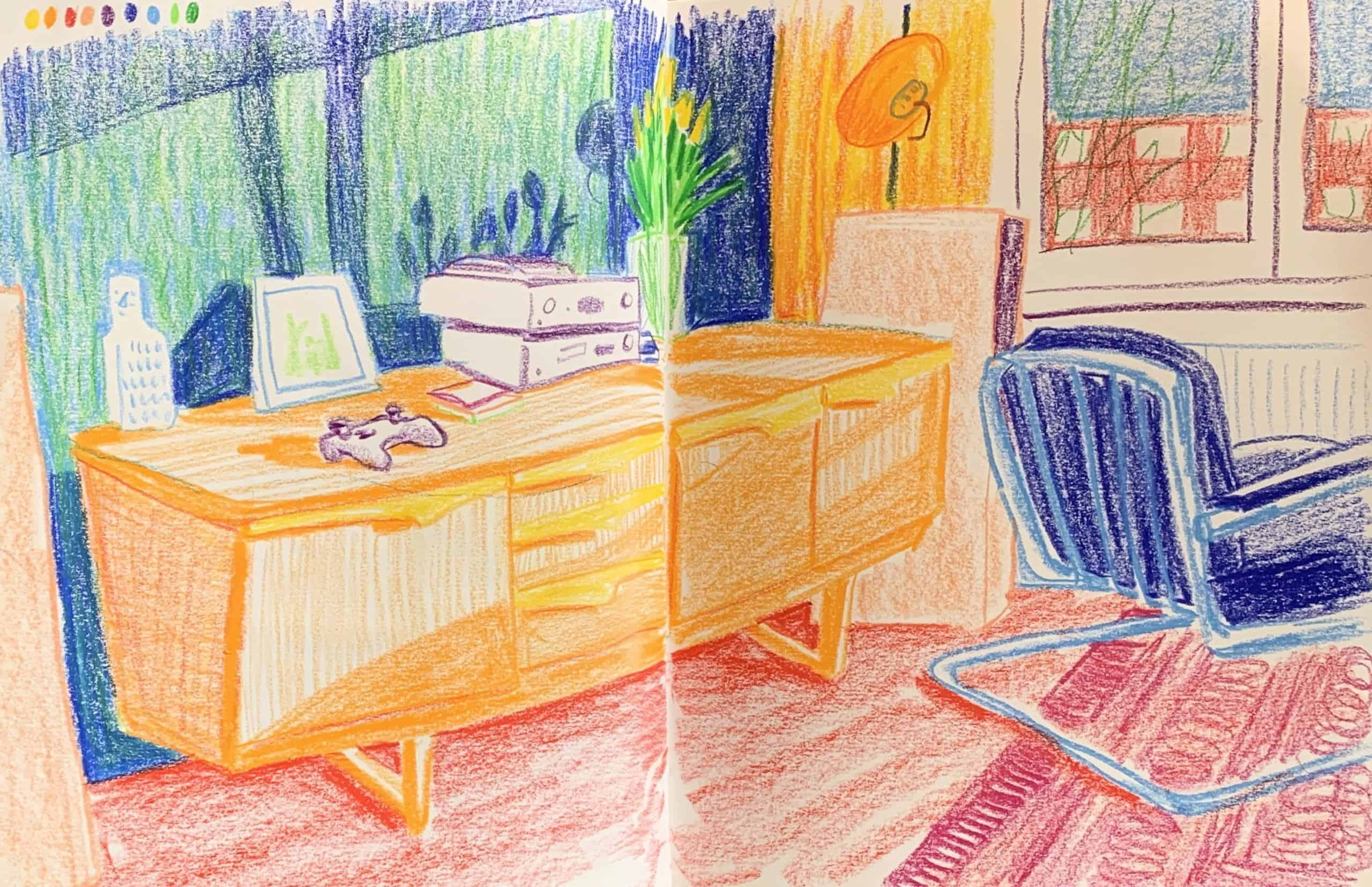 Drawing at home with colored pencils