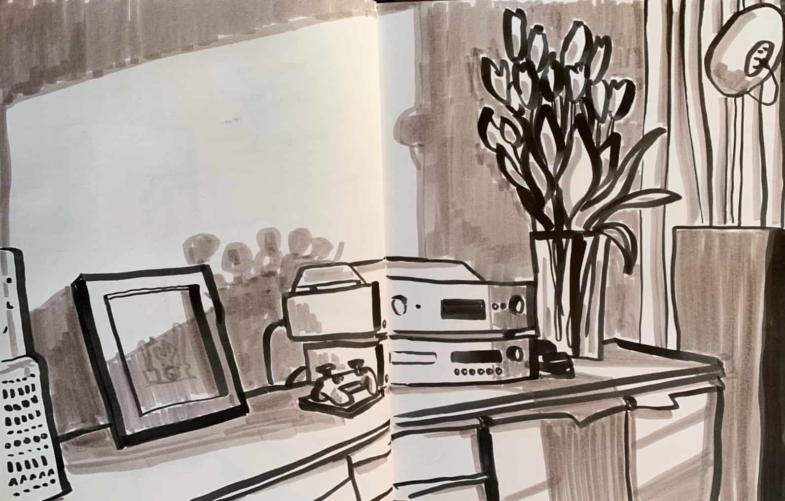 Drawing at home, a corner of the living room